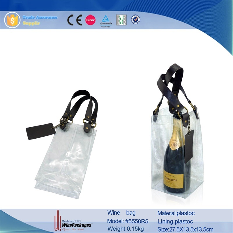 Wholesale Leather Gift Bag with Clear PVC Plastic Bag