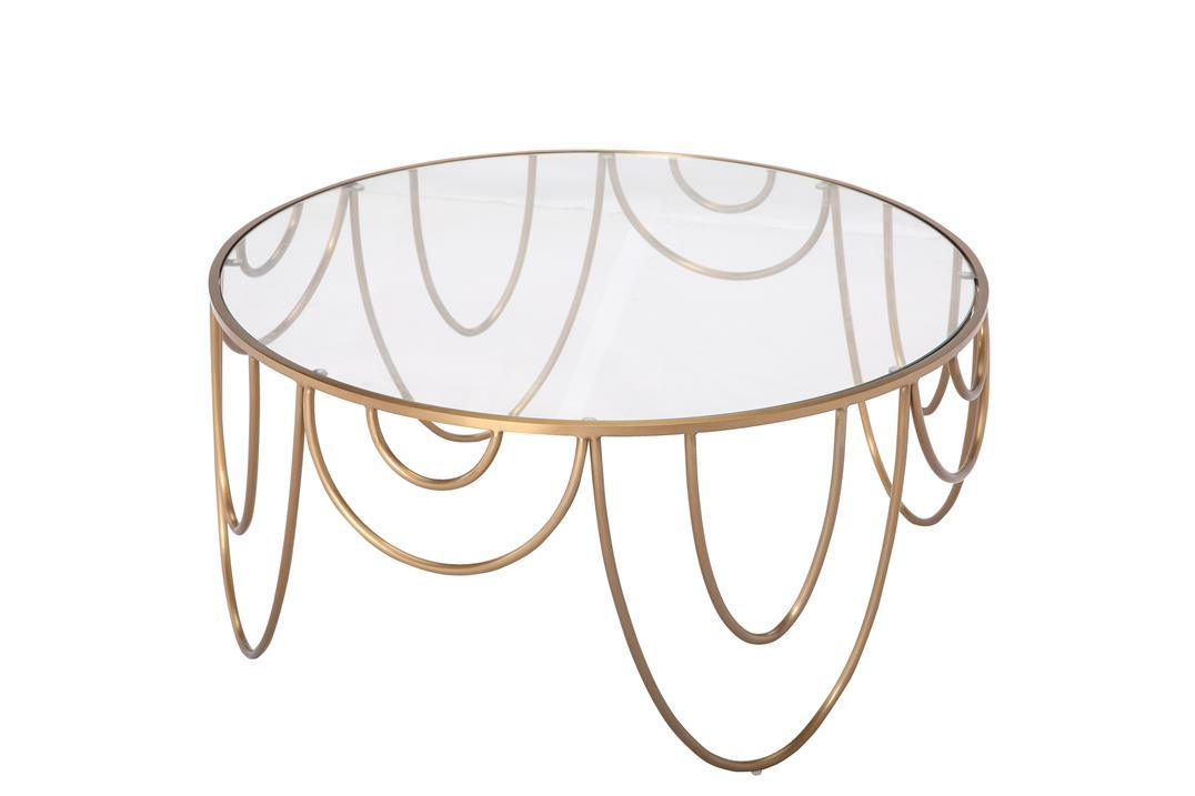 Coffee Tea Tea Table with Round Tempered Glass and Ss Base Frame