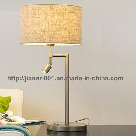Home Bedroom LED Modern Desk Table Lamp Light with Fabric Shade, E27 + LED 3W 3000k