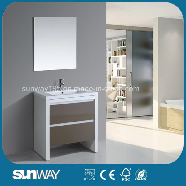 Hot Sell European MDF Glass Bathroom Cabinet with Mirror