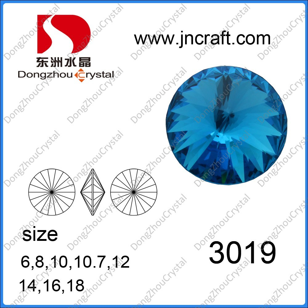 Point Back Rivoli Round Crystal Jewelry Accessories for Dresses