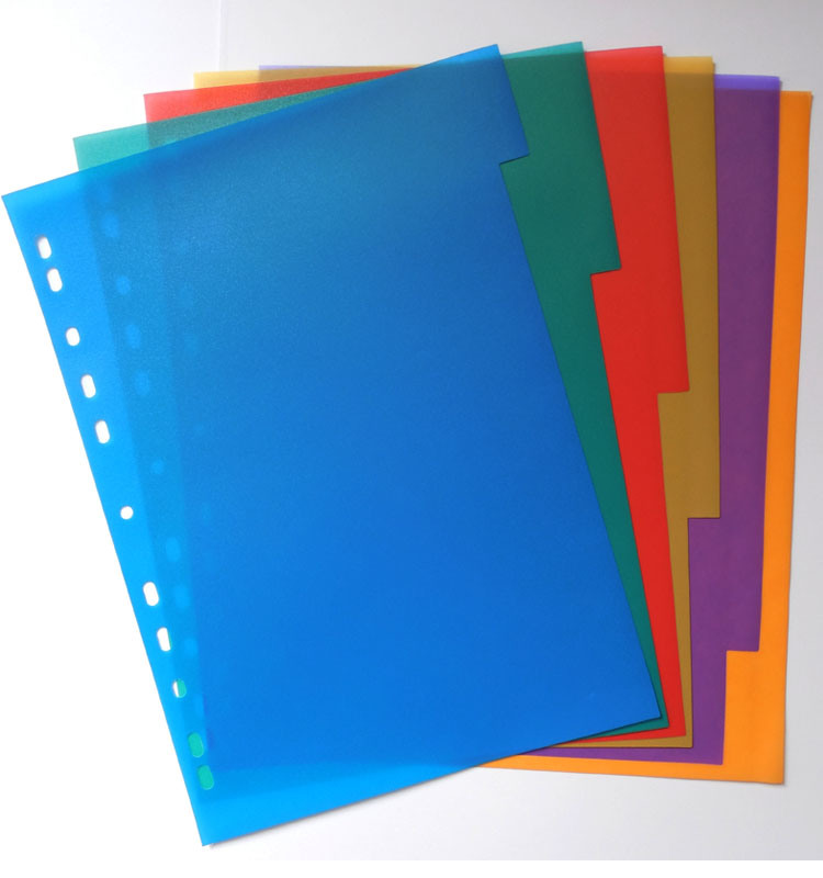 China A4 6 Color PP Index File Index Divider with 11 Holes - China ...