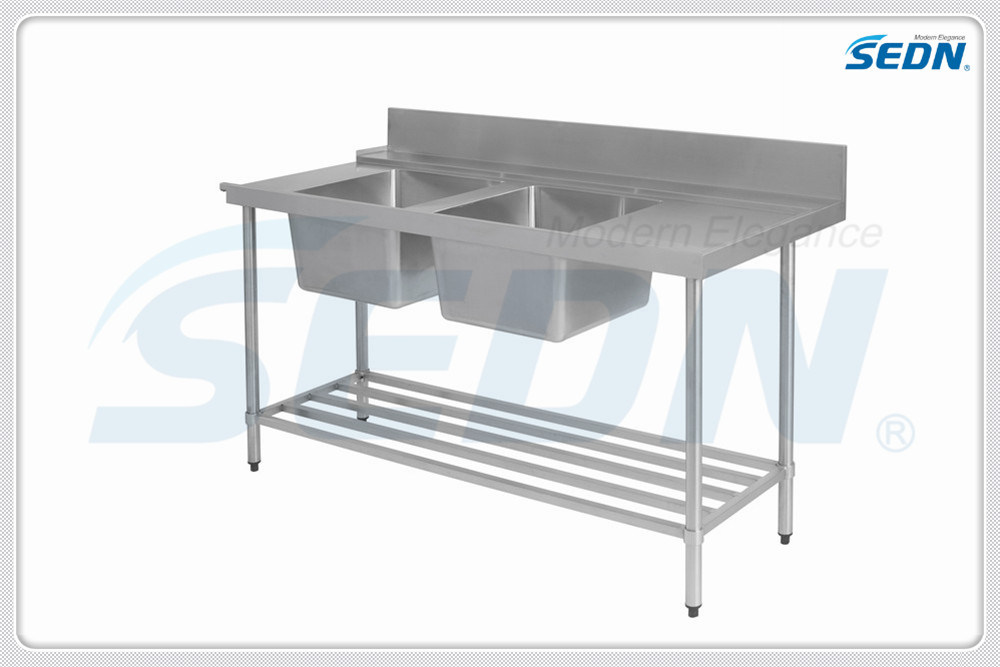 Handmade Commercial Stainless Steel Dishwasher Inlet Benches with Double Sinks (MT5025)