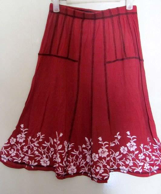 Printed Bamboo A Line Skirt