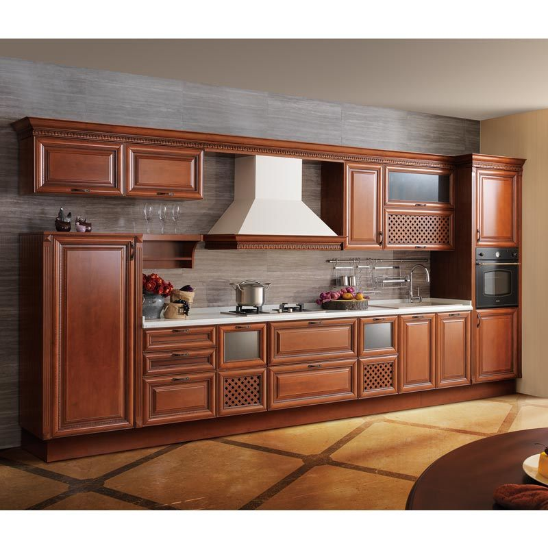 China high end alder solid wood kitchen cabinet furniture for Upper end kitchen cabinets