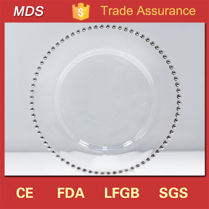 Cheap Wedding Round Clear Charger Plates with Silver Beads