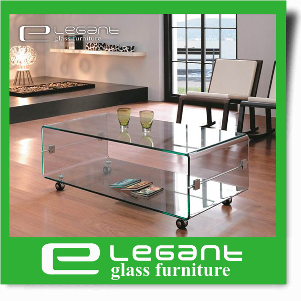 Bent Glass Box Coffee Table with Wheels