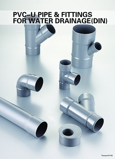 Plastic PVC Water Pipes Drainage Fittings Pipes (DIN)