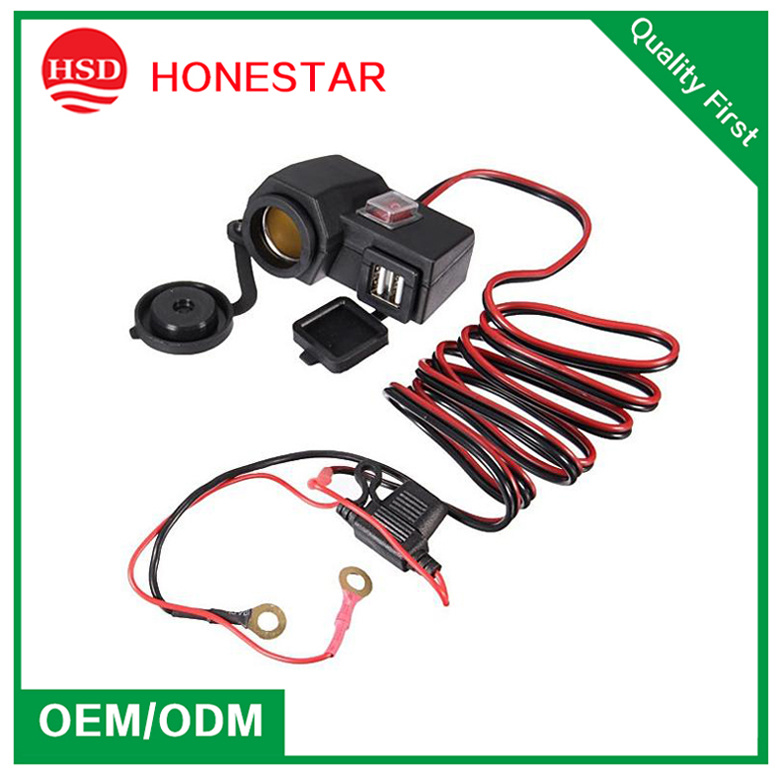 Motorbike Cigarette Lighter Socket with Dual USB Charging and Switch and Waterproof Cap