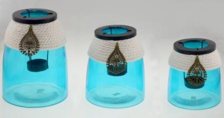 New Design Glass Candle Holder with Hand-Round Rope for Summer