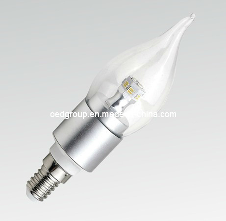 E14 C35 3014SMD 6W LED Candle Light with Clear or Milky Glass Cover