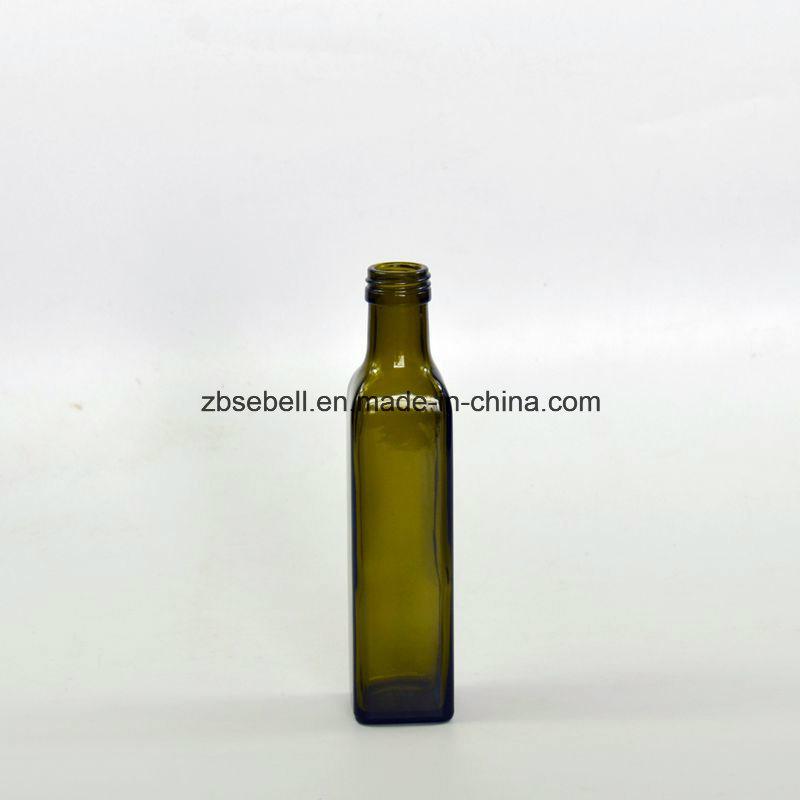 250ml Green Color Square Shape Glass Olive Oil Bottle