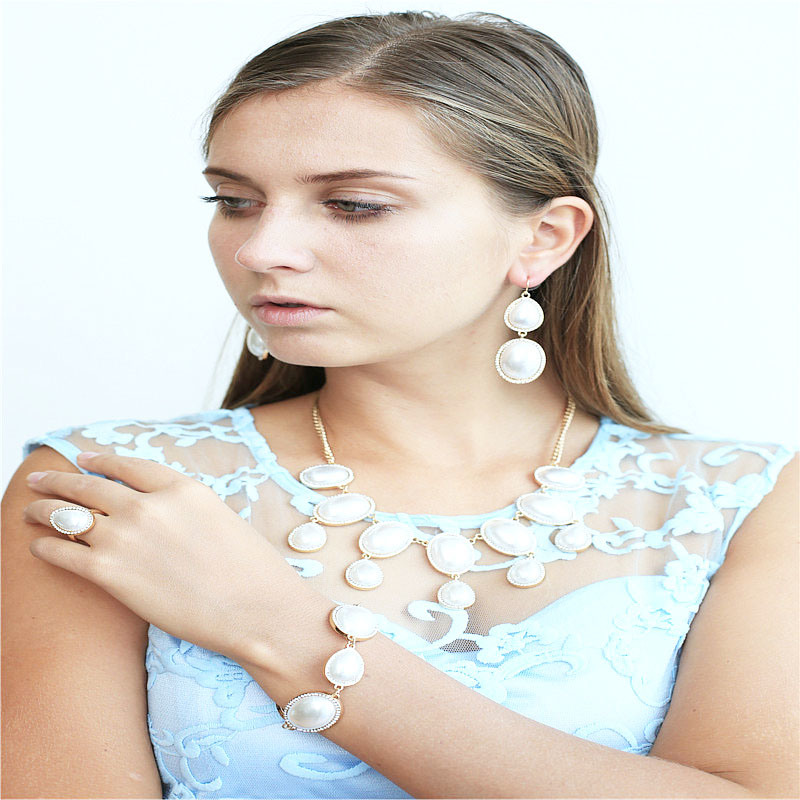New Design Acrylic Pearl Fashion Jewellery Necklace Bracelet Ring Earring