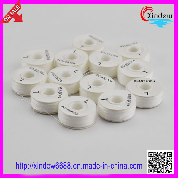 100% Polyester White Pre-Wound Bobbin Thread (XDBT-001)