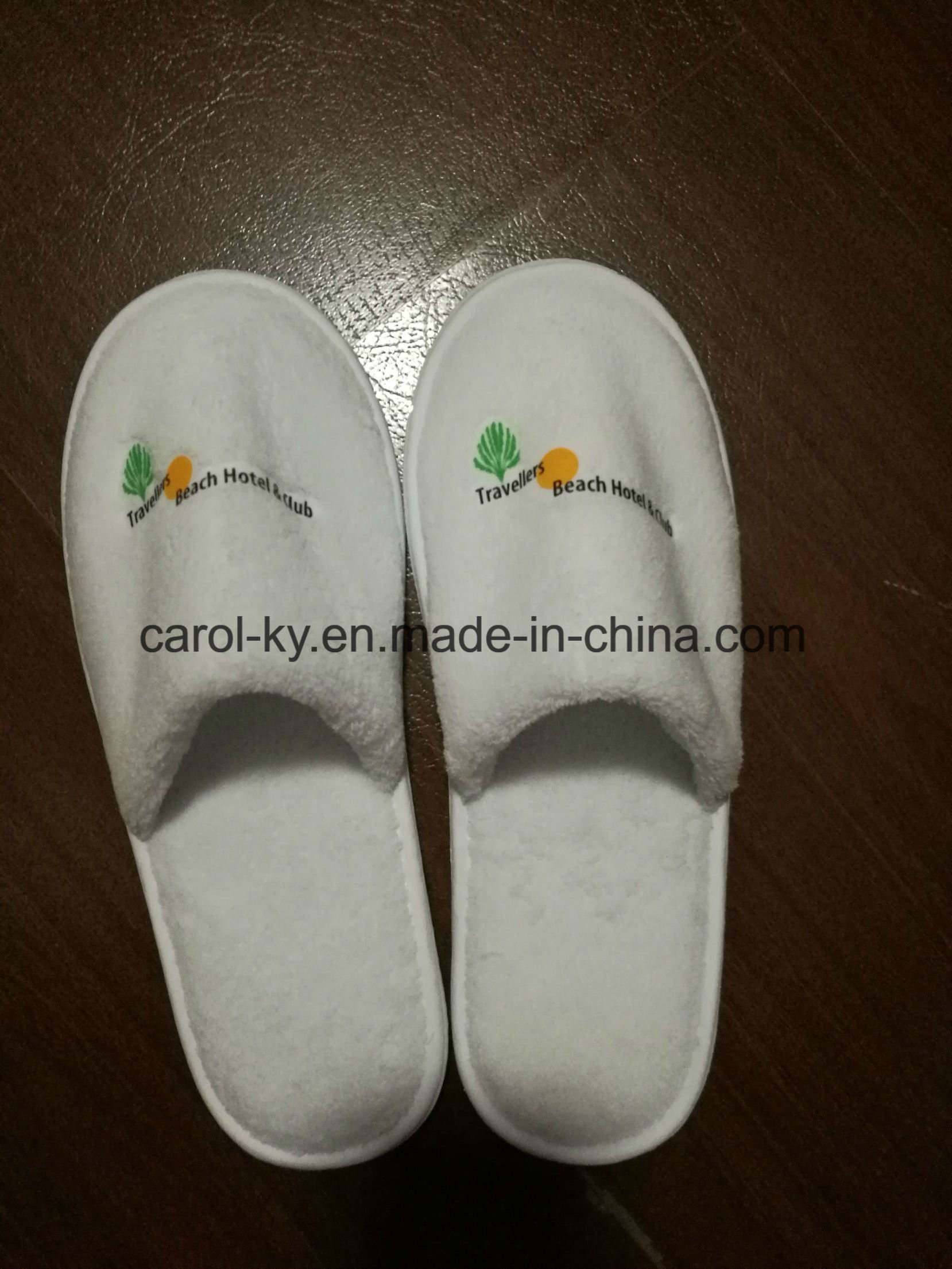 5 Star Hotel Printing Logo Polyester Fleece Hotel Slipper