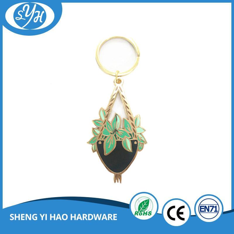 Creative Design Gold Plating Custom Hard Enamel Keychain