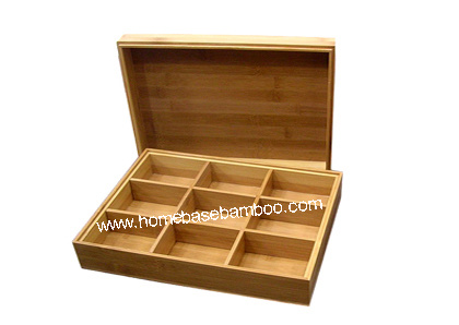 Bamboo Tea Box Organizer Storage Hb301