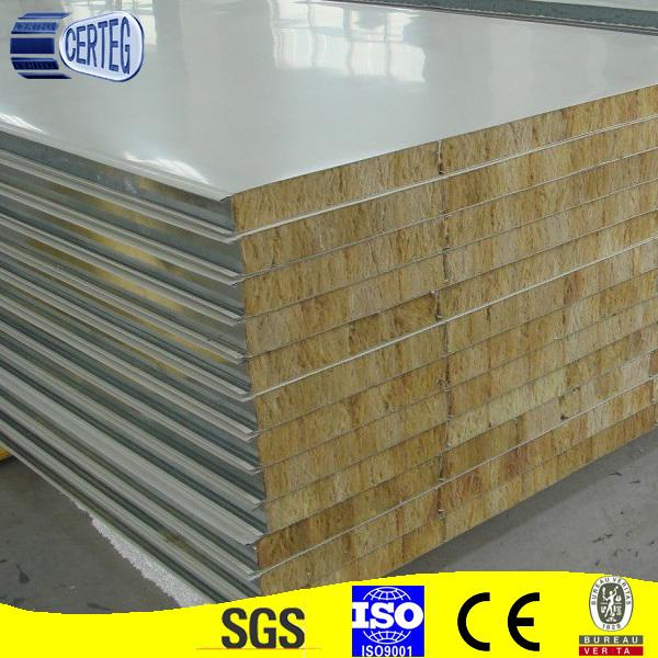 Insulation Steel Rock Wool Sandwich Panel for Wall