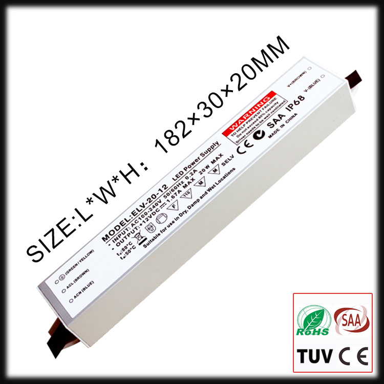 20W Constant Voltage Waterproof IP67 LED Driver with SAA