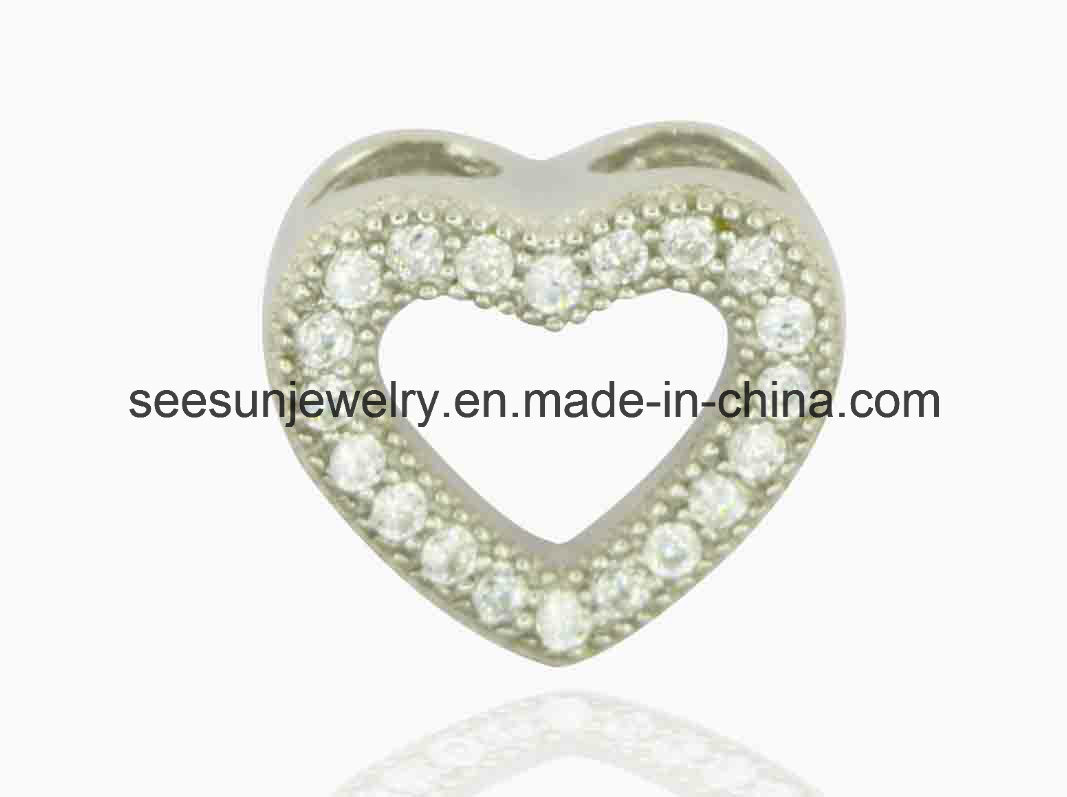 925 Silver Cute Heart Pendant for Mother′s Day and Valentine Day Gift
