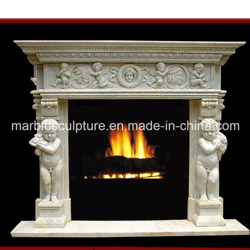 White Flower Surrond Marble Fireplace (SY-MF020)