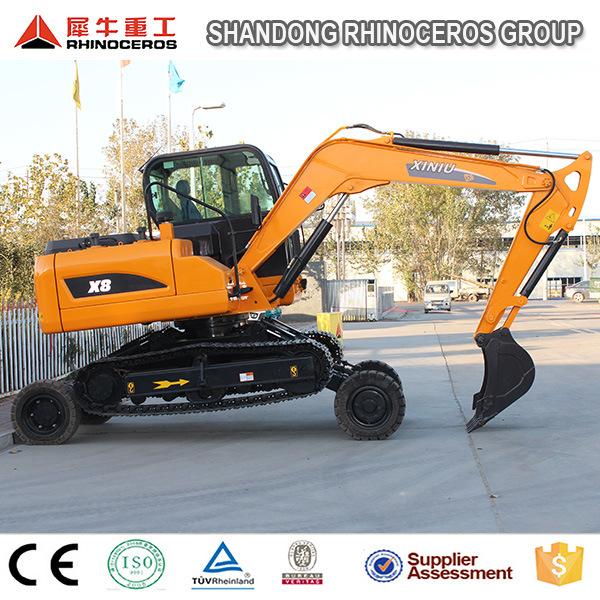 China New Excavator with Wheel and Crawler Excavator Digger X8