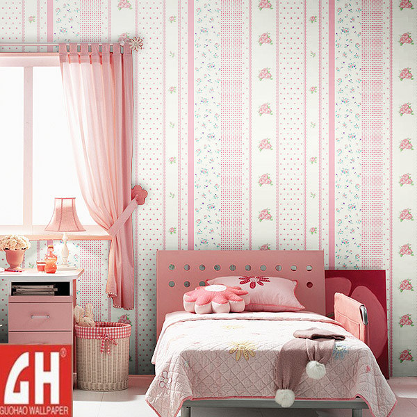 Pin design and house kids room cute pink dotty wallpaper for Wallpaper for kids rooms