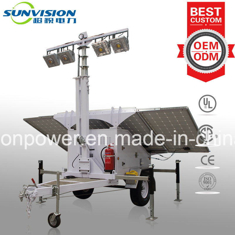 Hybrid Mobile Light Tower, Solar Light Tower with Standby Generator