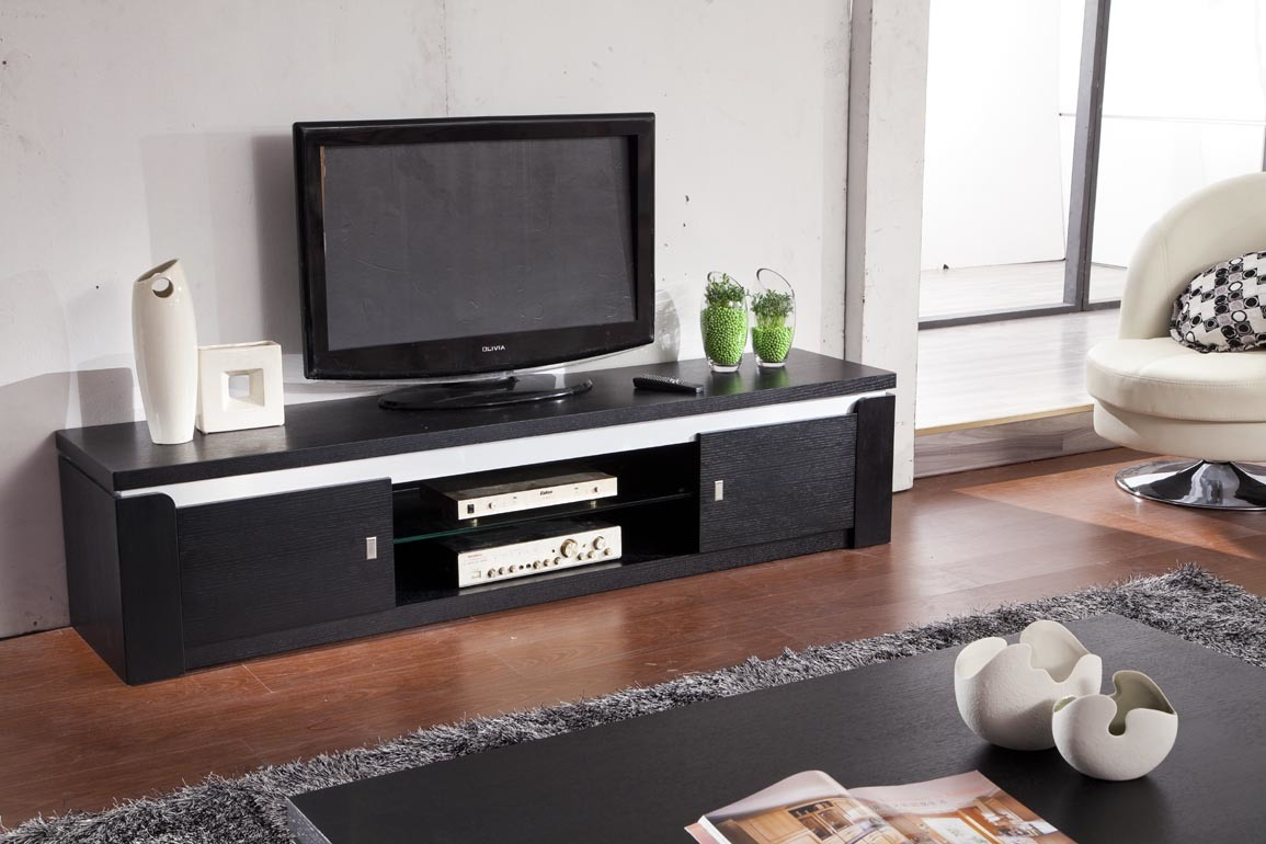 China black color wooden tv stand for home furniture 610 for Table tv moderne