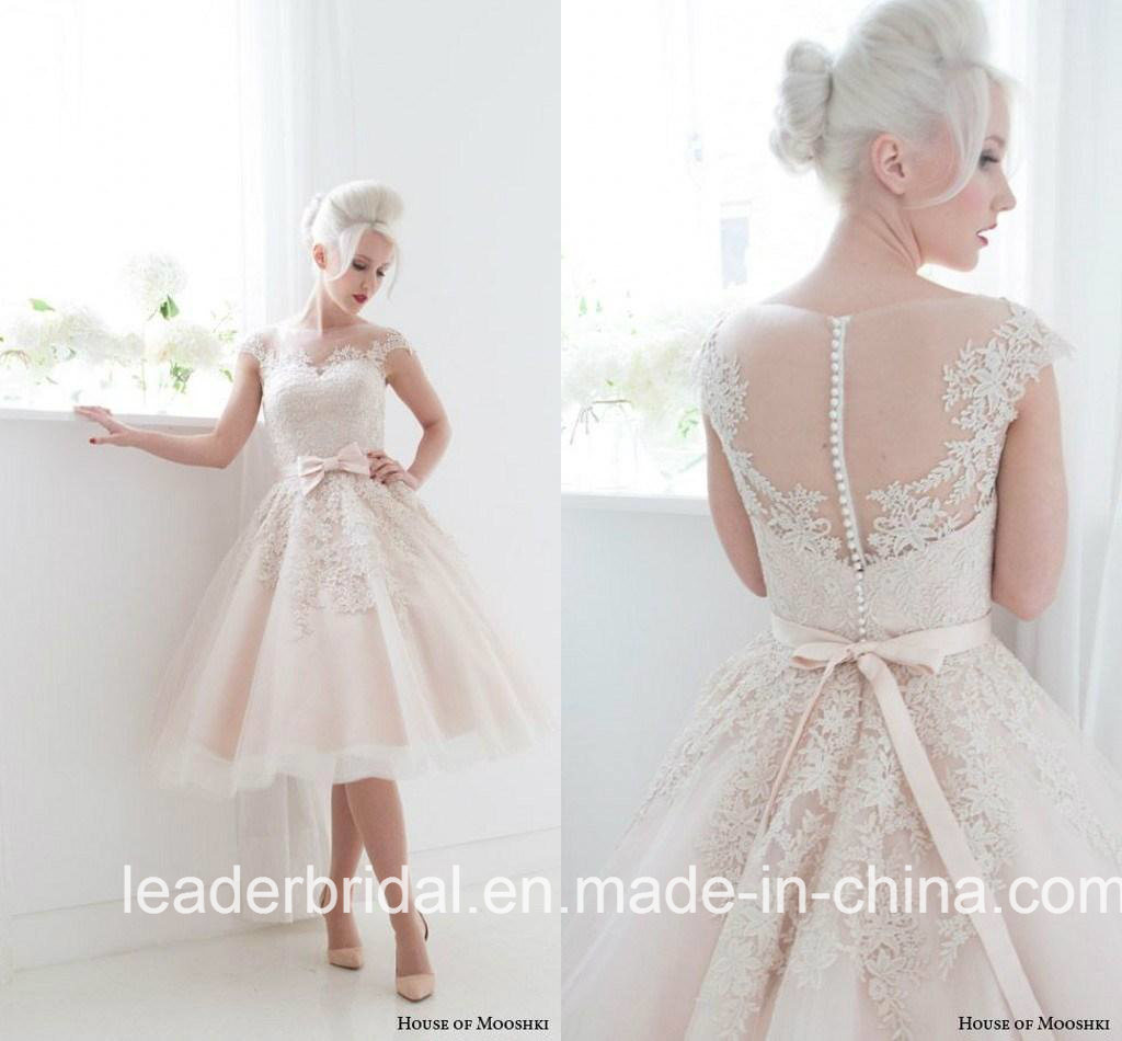 China Short Wedding Dress Pink Tulle Lace Knee Length