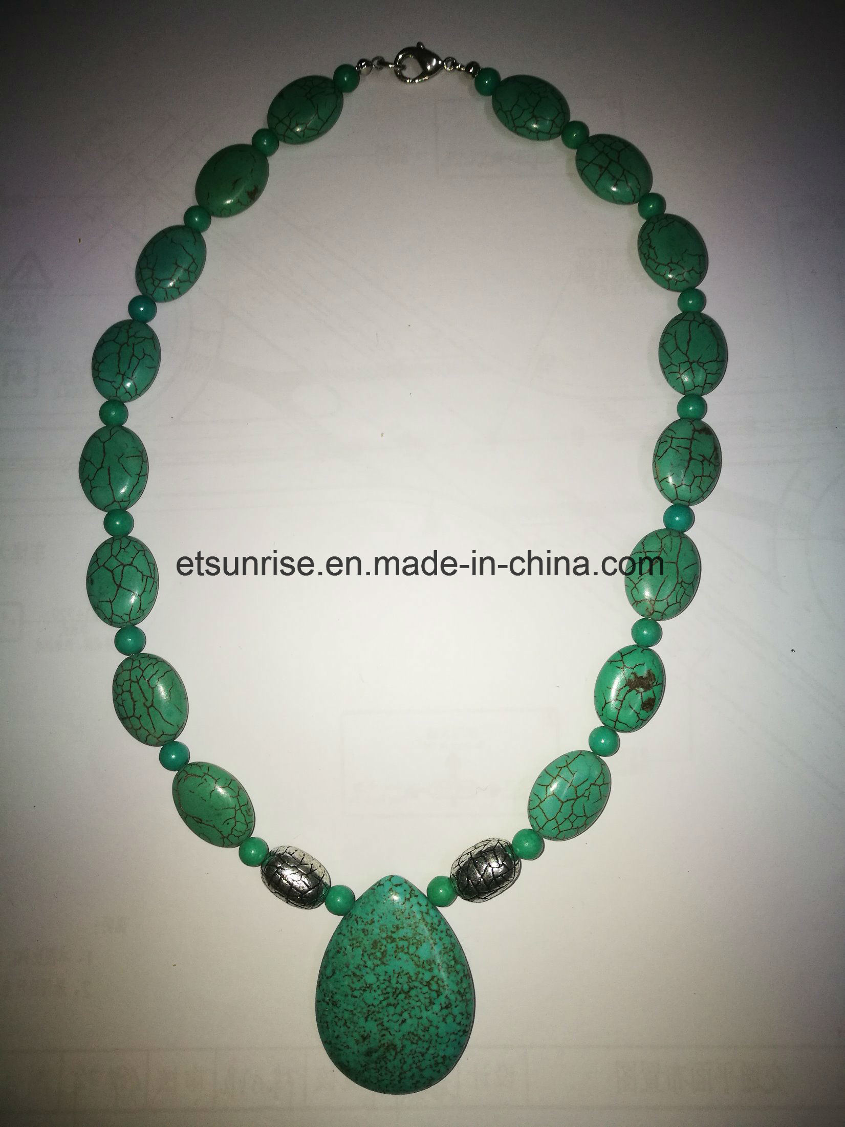 Semi Precious Stone Blue Green Turquoise Beaded Necklace Jewellery