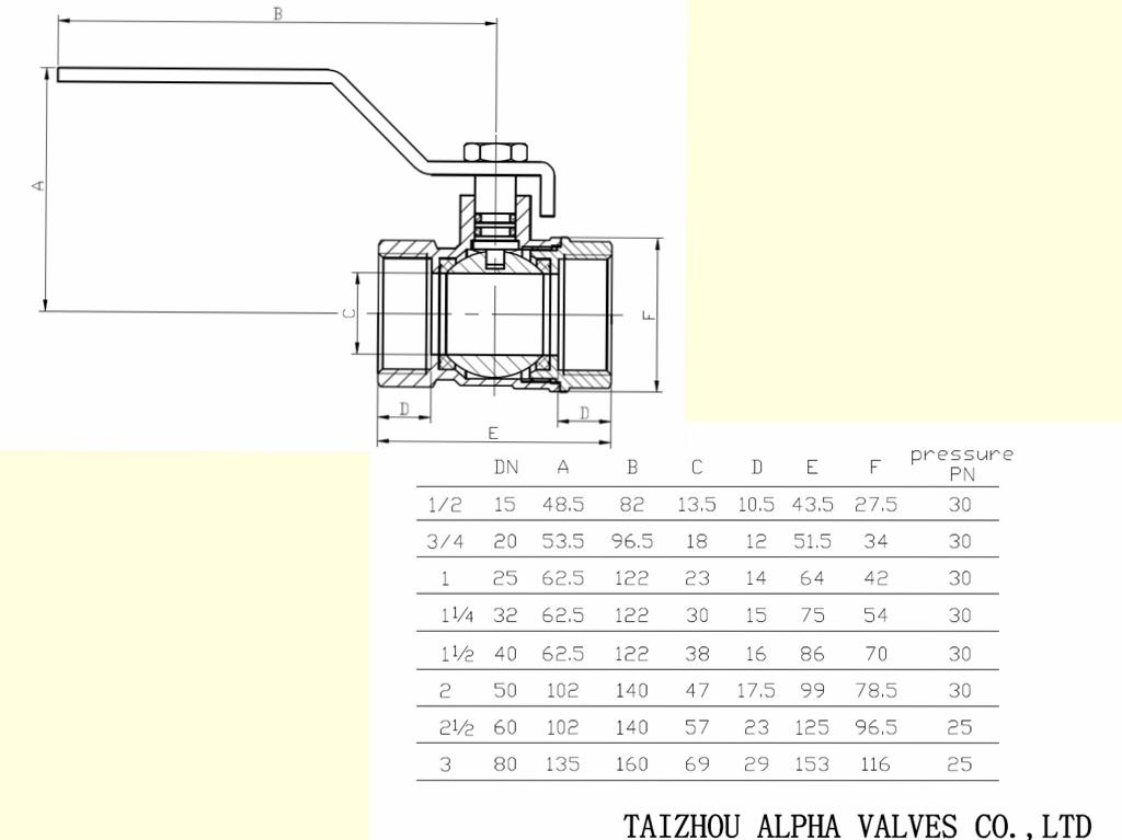 Female to Female Brass Full Bore Ball Valve (a. 0102)