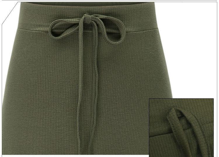 Split Elastic Waist Long Knitted Straight Skirt for Women Clothing