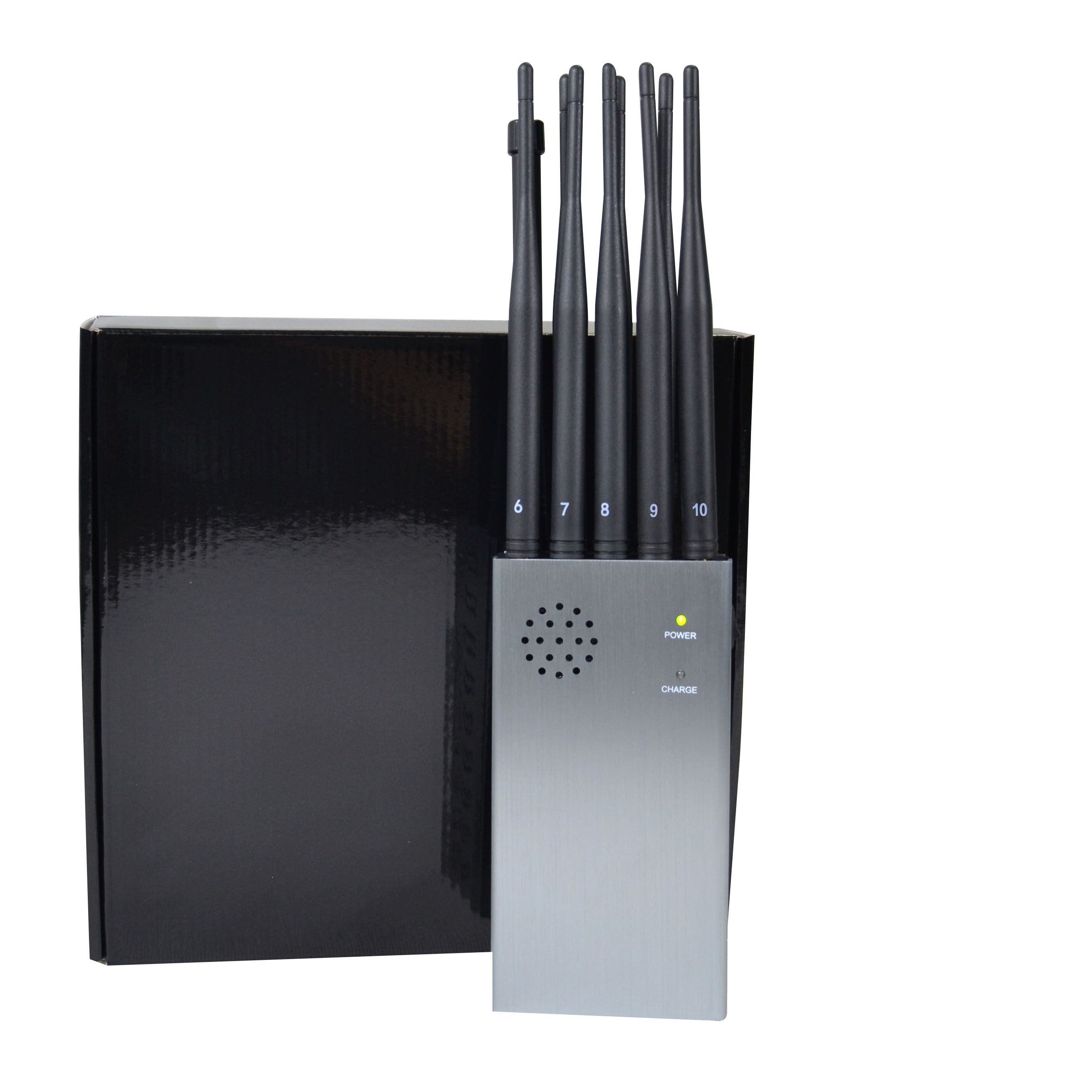China King Jammer with Portable 10 Antennas Including 2g 3G 5g 4G WiFi, GPS Remote Control Lojack Signals - China 8000mA Battery Jammer, Large Volume Power Signal Blocker
