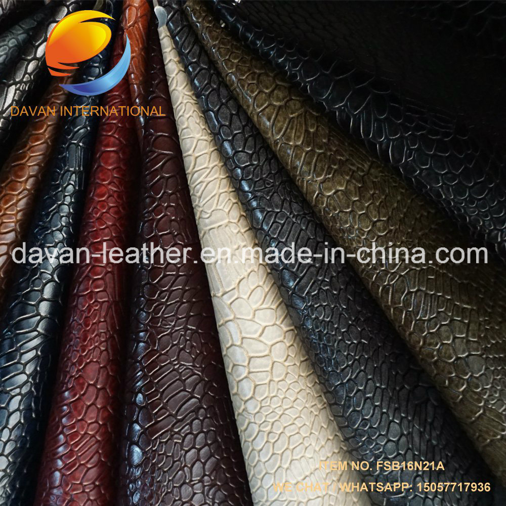 Artificial Leather 2017 New Design Emboss for Lady Gent Shoes with Dull Surface