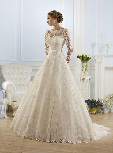Elegant Lace Belt Long Full Sleeves Bridal Dress