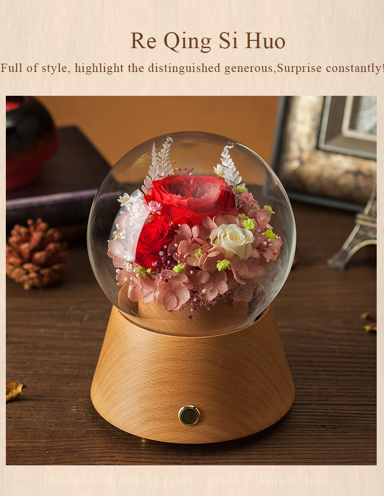 Ivenran Bluetooth Speaker Music Box Flower for Gift and Decoration