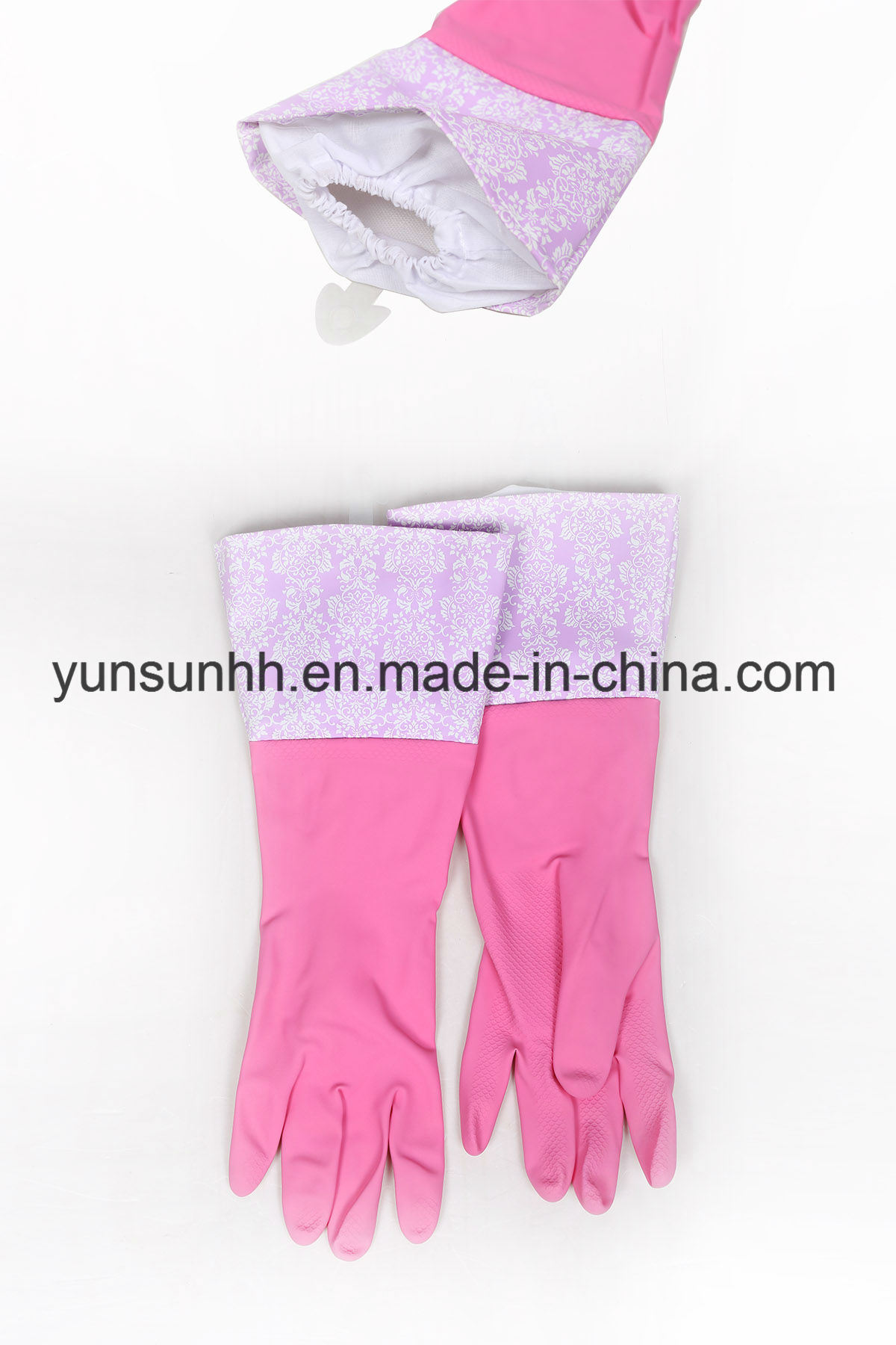 Long Cuff Rubber Household Gloves with Cotton Fibre Inside