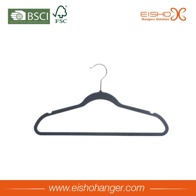Non-Slip Clothes Garment Hanger Flocked Velvet Hanger for Wholesale
