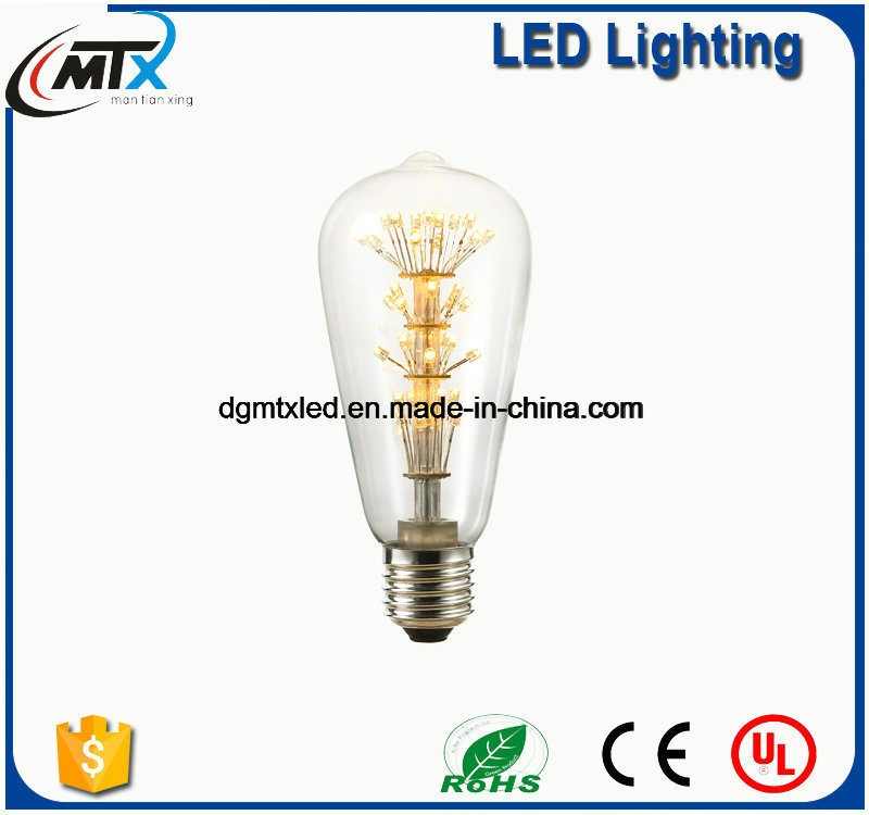 MTX LED bulb E27 2W Vintage Edison lamp ST48 transparent Glass Filament light Retro lamps AC220V