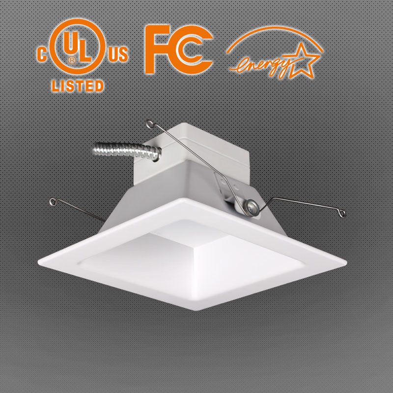 UL Es Approved 6/8 Inch LED Square Downlight, Ra80/90, 100lpw