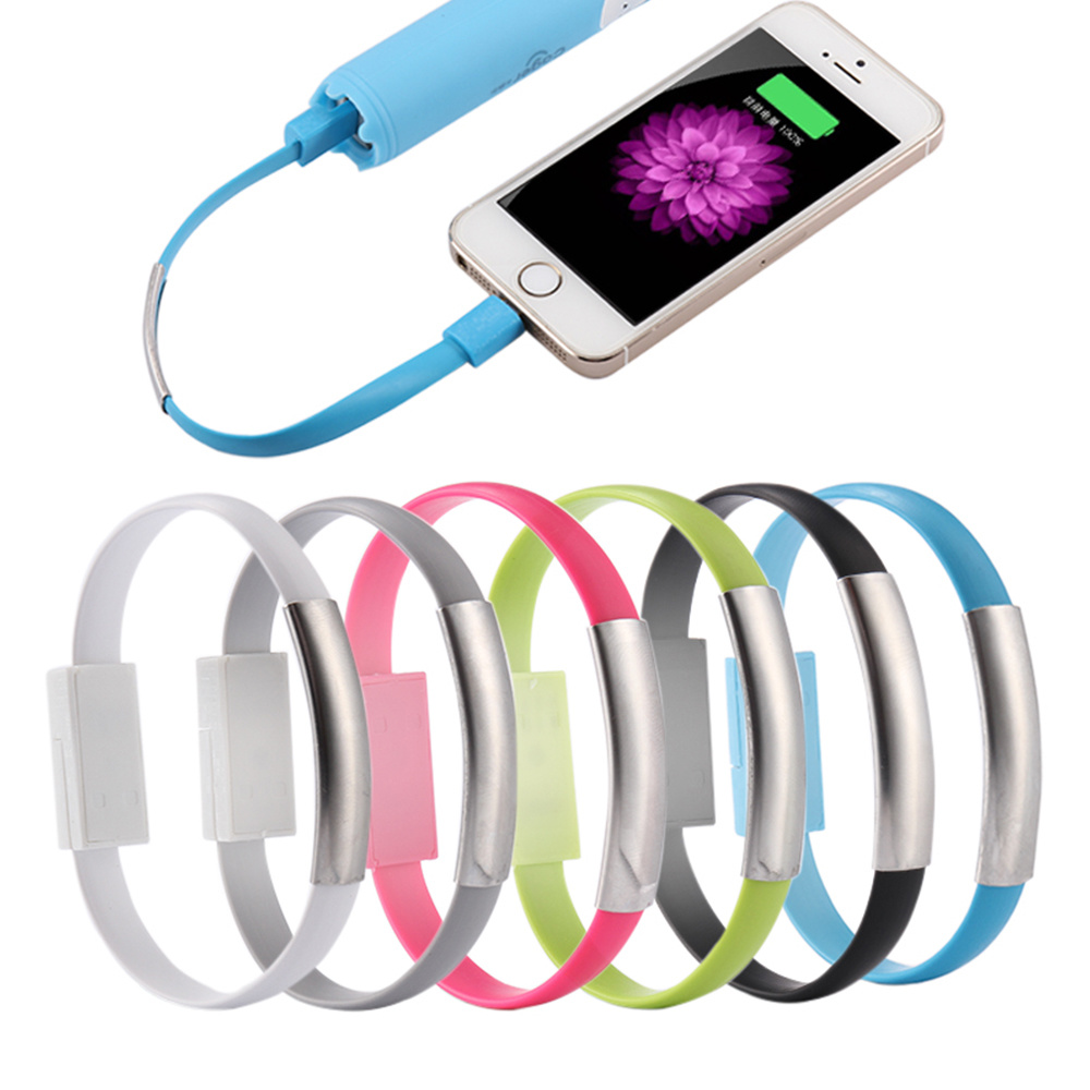 Mini Wristband Bracelet Flat Style USB Portable Sync Charging Data Cable for Android Samsung iPhone 6 6plus 6s 5 5s