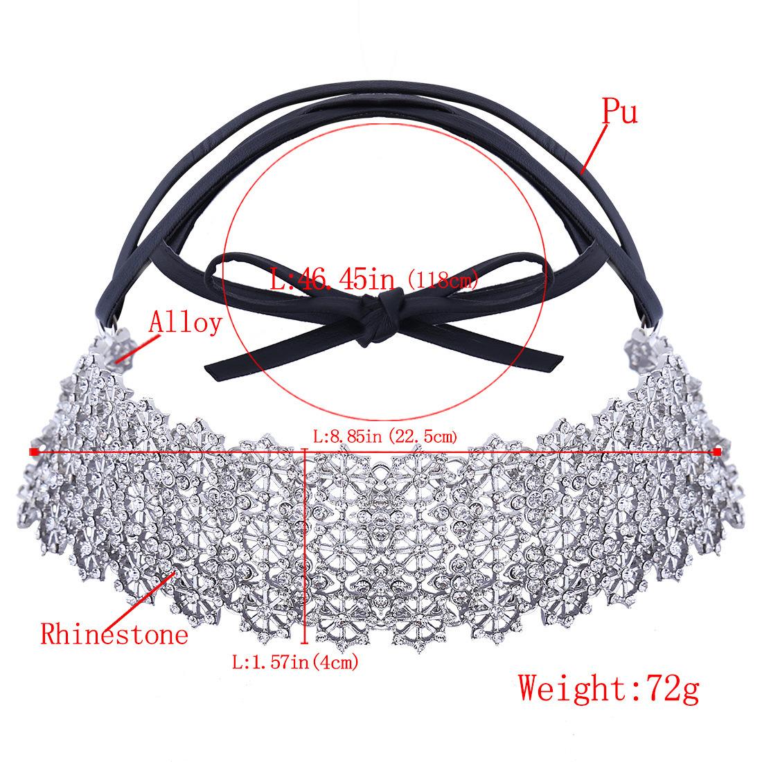 Fashion PU Leather Bow Full Rhinestone Glittering Flower Diamond Collar Choker Necklace Jewelry