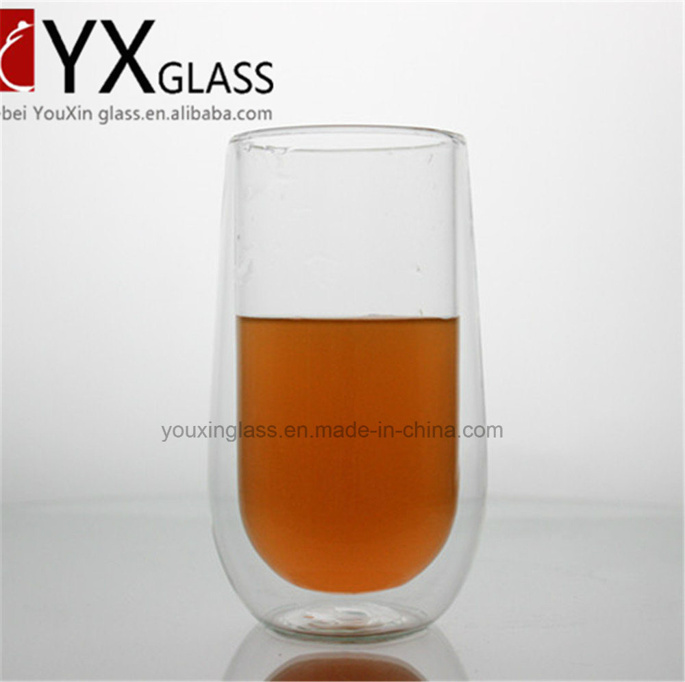 400ml Clear Borosilicate Glass Double Wall Coffee Cup Tea Cup for Sale