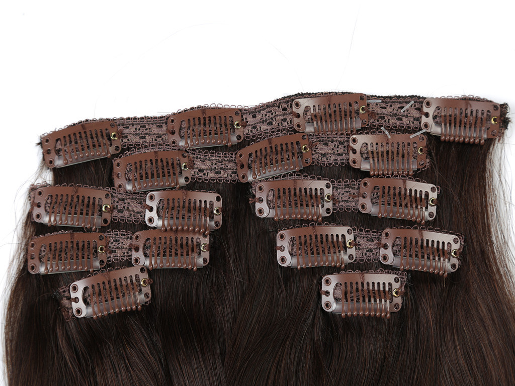 "Premium Quality 100% Human Hair Real Remy Clip-in Hair Extensions 24"" Color: Brown, 10PCS Set"