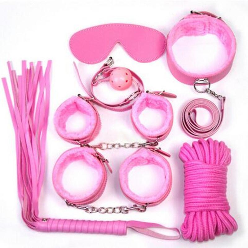 5 Set/Lot Sex Bondage Kit Set 7PCS Adult Sex Game Toy Bed Restraint System Sexy Product Fetish Erotic Sex Toy for Couple Toys