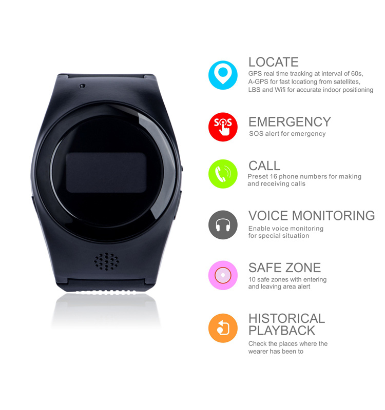 Personal Kids GPS Watch Tracker Support WiFi +Lbs+GPS Location R11