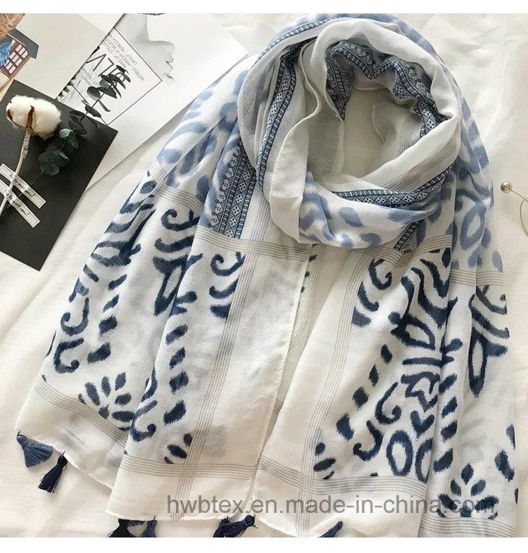 New Customized Zebra Ink Printing Thin Lady′s Cotton Scarf (HWBC32)