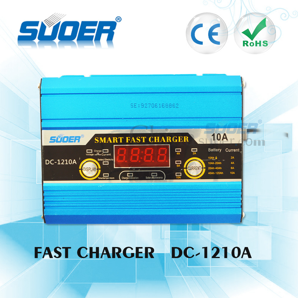 Suoer Digital Display 12V 10A Portable Smart Fast Battery Charger with Ce (DC-1210A)