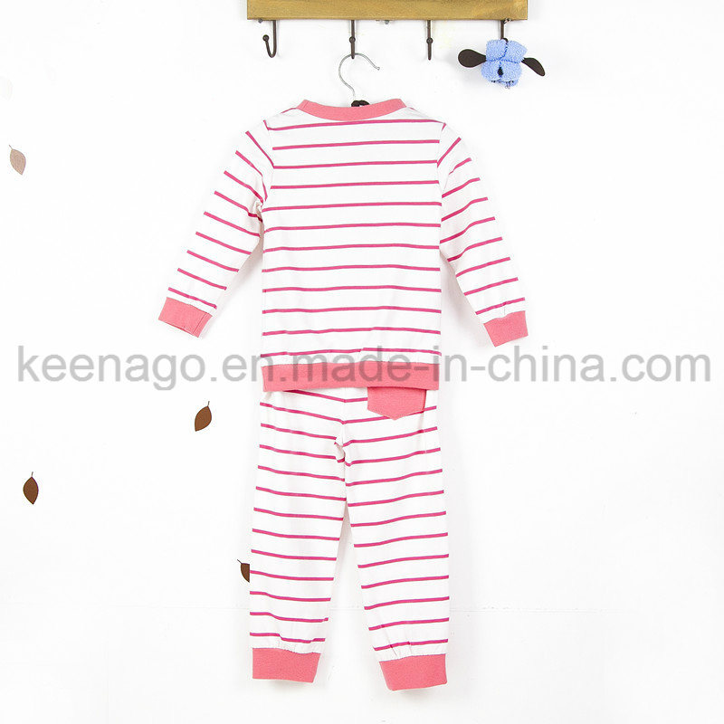 Girls Organic Cotton Fashion Popular Kid′s Long Sleeve Pajamas Suit